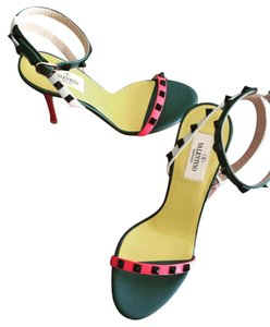 Valentino Rockstud Multicolor Laquered Studs Pink Green White Sandals