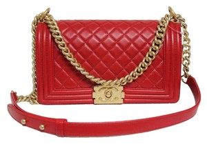 Chanel Brushed Gold Hardware Old Medium Size Red Messenger Bag
