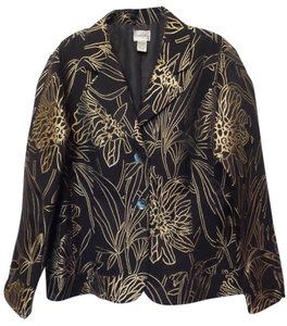 Chico's Size 2 Large Black with Gold Jacket