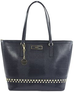 DKNY Lizard Leather Tote in Navy