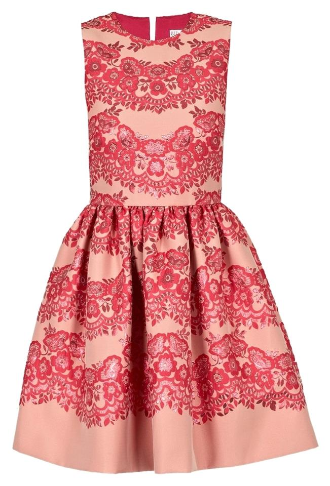 6c15102f311 RED Valentino short dress PINK New Lace Brocade Fit Flare Floral Flower  Small on Tradesy Image ...