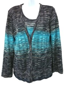 Escada Teal Brown Knit Twinset Cardigan