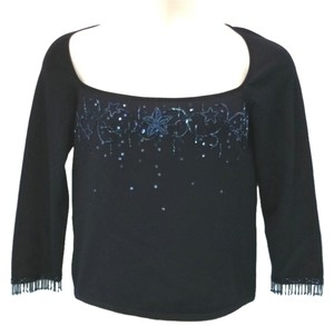 Escada Embellished Knit Top BLACK