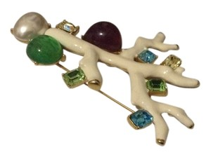 Kenneth Jay Lane White coral gem studded branch brooch