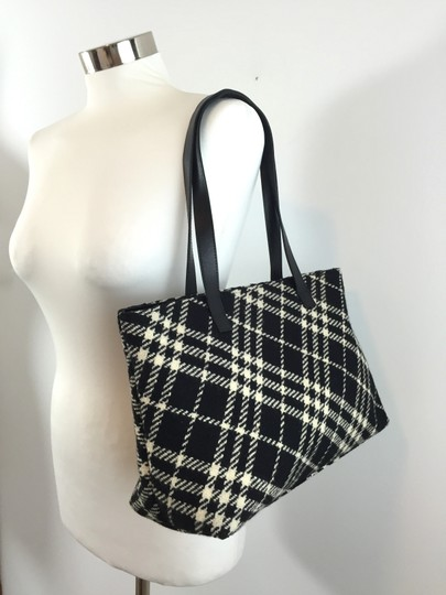 Burberry Wool Nova Check Tote Shoulder Bag