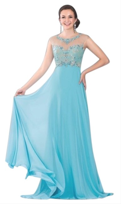 2Cute Turquoise 51132 Long Formal Dress Size 6 (S) 2Cute Turquoise 51132 Long Formal Dress Size 6 (S) Image 1