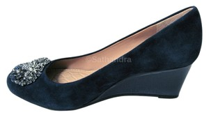 Antonio Melani Bejeweled 7.5 Suede Leather Womens New blue Wedges