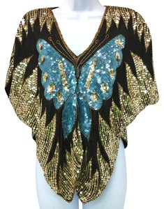 Embellished Cocktail Evening Top GOLD/TEAL/BLACK