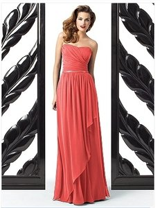"Dessy ""Spice"" (Coral) Chiffon Collection Style 2868 Feminine Bridesmaid/Mob Dress Size 4 (S)"
