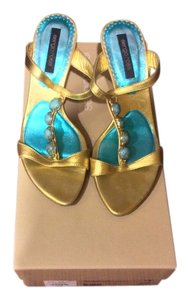 Sergio Rossi Open Toe Gold and Turqouise Sandals