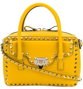 Valentino Rockstud Leather Tote in Yellow