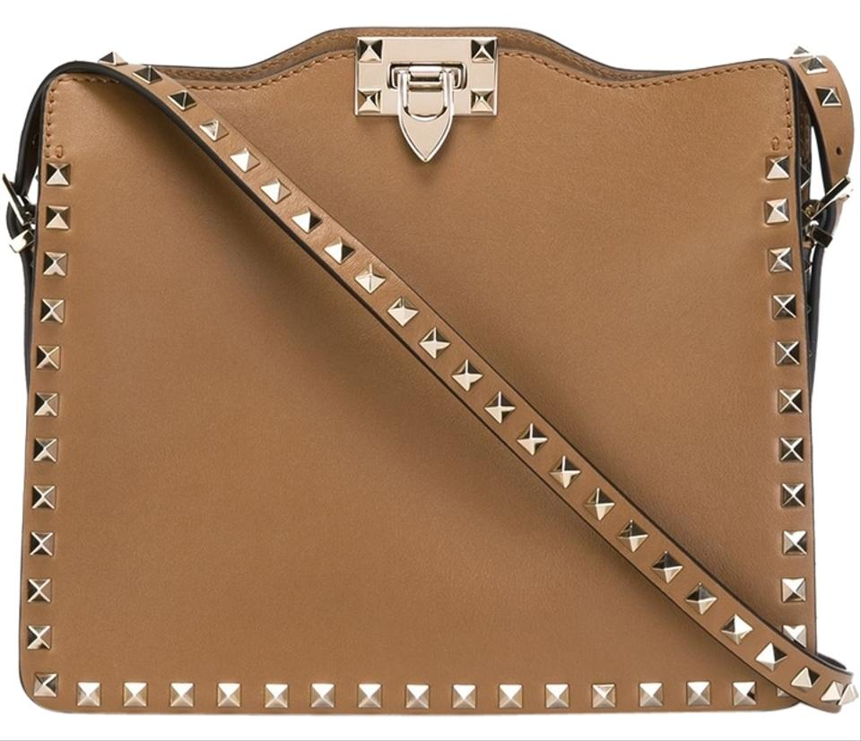 Valentino Shoulder Bag Brown Leather 'rockstud' Garavani rSqzYr