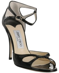Jimmy Choo Strappy Patent Leather Black Sandals
