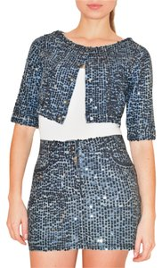Jean-Paul Gaultier JEAN PAUL GAULTIER BLUE SEQUINS MINI SKIRT JACKET DENIM SUIT XXS
