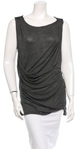 Elizabeth and James Draped Ruched Sleeveless Minimalist Avant Garde 90s 1990s Top Charcoal Grey & Black