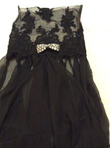 Black Lace And Chiffon Chair Cover Black