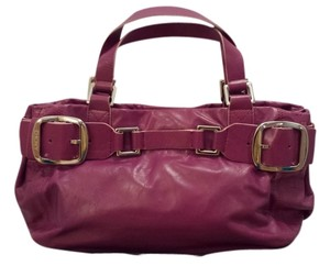 DKNY Silver Hardware Leather Satchel in Purple