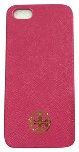 Tory Burch Tory Burch Robinson Iphone 5/5s Smart Phone Red Pink Carnation Saffiano Leather Gold Logo Hard Case New