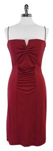 Nicole Miller Red Spaghetti Strap Gathered Dress