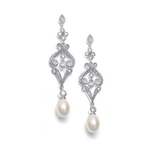 Vintage Pave Crystals And Freshwater Pearl Drop Bridal Earrings