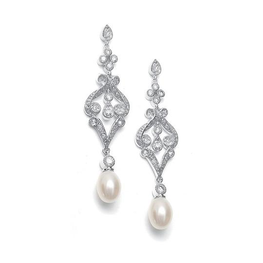 Silver/Rhodium Vintage Pave Crystals and Freshwater Pearl Drop Earrings