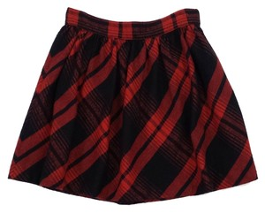 Joie Red Black Plaid Cotton Skirt