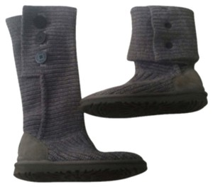 UGG Australia Gray Knit Cardy Fold-Over boot With Box Sz 9 Gray Boots