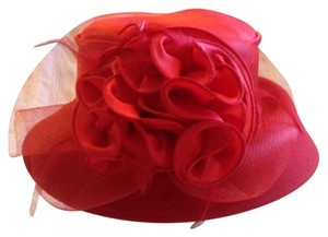 Vintage Red Wool and Satin Floral Derby Hat
