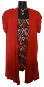 AB Studio Twin Set Layered Ruffle Shirt Xl Cardigan Shirt Top Red Orange top with multicolored inset