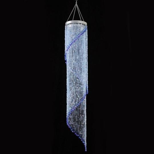 Blue Lot Of 2 Spiral Crystal Chandeliers with Light Kits Included 4 Ft. Reception Decoration