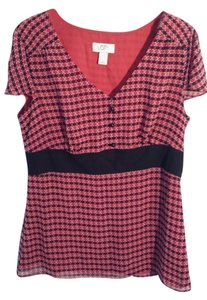 Ann Taylor LOFT Empire Waist Slimming Geometric Design Top red, black, white