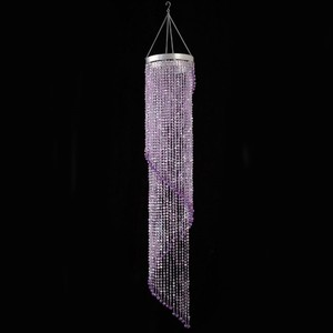 Purple Lot Of 2 Spiral Crystal Chandeliers with Light Kits Included 4 Ft. Reception Decoration