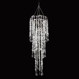 Clear Lot Of 2 Chandeliers 32 Led Bulbs Gemstone Beaded Battery 33.5 Inch Reception Decoration