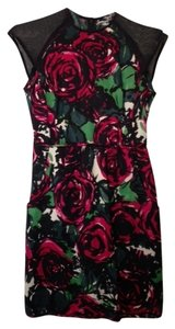 Nanette Lepore Silk Floral Mesh Short Classic Sleeveless Dress