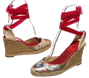 Christian Louboutin Tan Multicolor Wedges