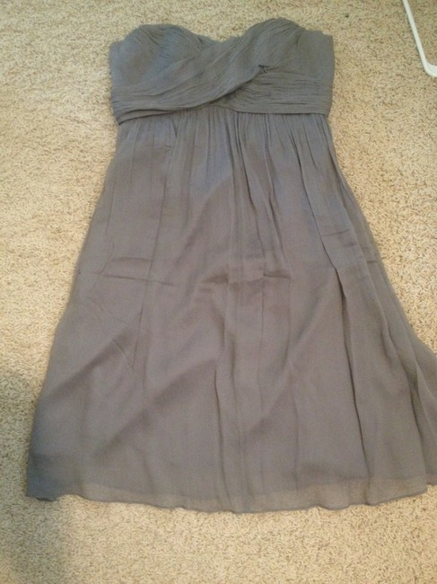 Item - Grey Silk Chiffon Formal Bridesmaid/Mob Dress Size 6 (S)