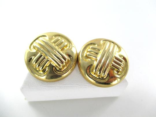 Clinique 14KT YELLOW GOLD EARRINGS BUTTON HALLMARK CIG CROSS DESIGNER X DESIGN JEWELRY