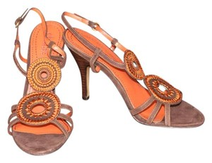 Charles by Charles David Women's Accessories Suede Brown Chocolate Rust Orange Slingback Heels High Heels Leather Woven Wooden Buckle Textile Brown, Orange Sandals