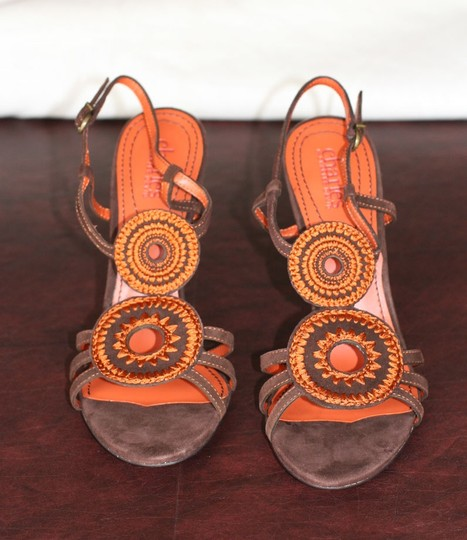Charles by Charles David Women's Accessories Suede Chocolate Rust Slingback Heels High Heels Leather Woven Wooden Buckle Textile Brown, Orange Sandals
