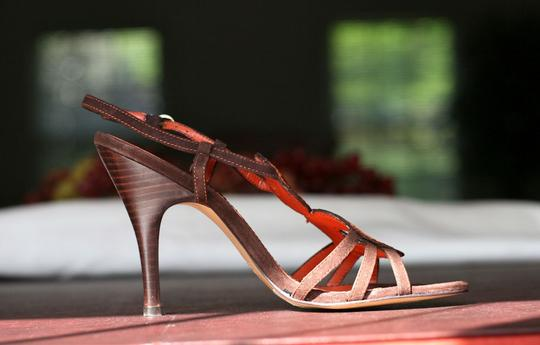 Charles by Charles David Slingback Heels Brown, Orange Sandals