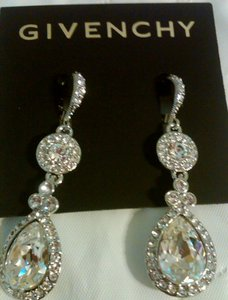 Givenchy Clear Silver Pave Double Drop Silver/ Crystal Earrings