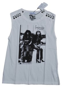 Hysteric Glamour New York Dolls Rock & Roll Rock & Roll Riveted Organic Cotton Tank T Shirt Off White