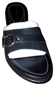 H.S. Trask Sandals Leather New Black Mules