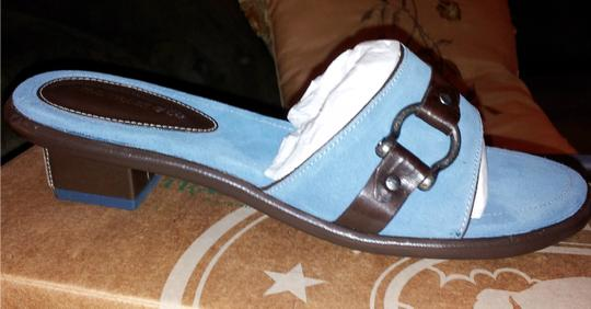 H.S. Trask Sandals New Leather Suede Blue & Black Mules