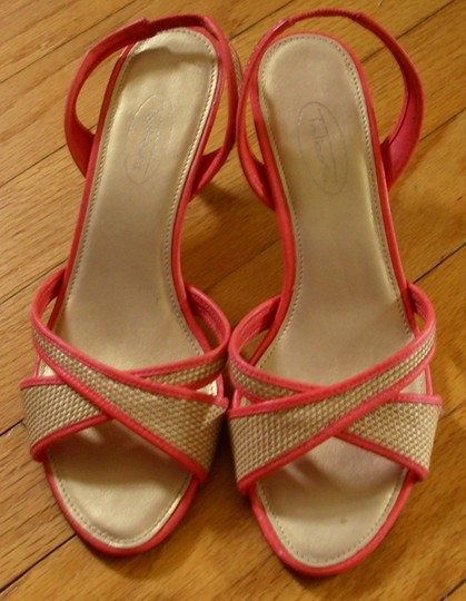 Talbots Summer Date Night Night Out Slingback Straw pink Sandals