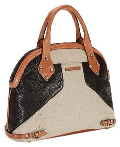 Rebecca Minkoff Satchel in Black and Linen