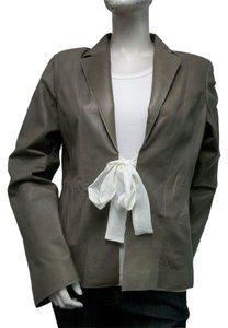 Zenobia Zenobia Silk Sash Tie Belted Soft Leather Jacket Blazer