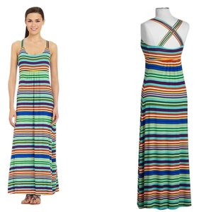 Maxi Dress by Calvin Klein Crisscross Strap Size 6 Striped Summer