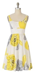 Anthropologie short dress yellow/gray/white Maeve Cotton Floral on Tradesy