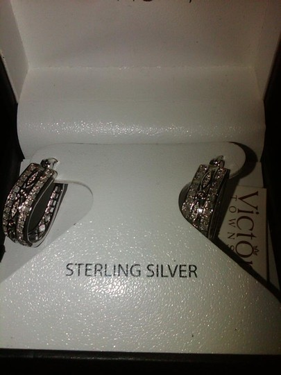 Victoria Townsend Victoria Townsend for Macy's Clear Diamond Stone Earrings, Silver-Tone Oval Hoop Earrings